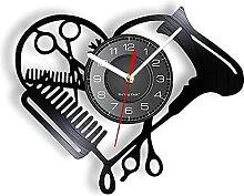 RFTGH Friseursalon Werkzeuge Schallplatte Wanduhr