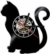 RFTGH Katze Silhouette Wanduhr Vinyl Uhr Kätzchen