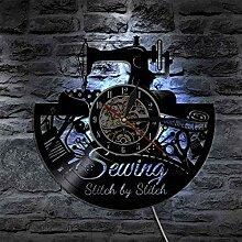 RFTGH Quilten Zeit Wandkunst Uhr Nähmaschine