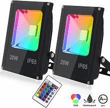 RGB 2x 20W LED Strahler Fluter Außen mit