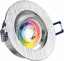 RGB LED Einbaustrahler Set GU10 in aluminium