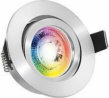 RGB LED Einbaustrahler Set GU10 in aluminium matt