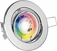 RGB LED Einbaustrahler Set GU10 in chrom mit 3W