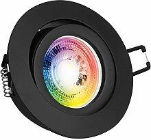 RGB LED Einbaustrahler Set GU10 in schwarz matt