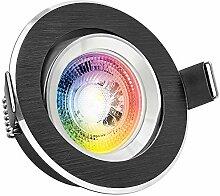 RGB LED Einbaustrahler Set GU10 in schwarz mit 3W