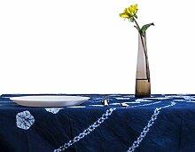 RH 112 x 112cm Indigo Weihnachtliche Tischdecke Abwaschbar Shibori Kirschblüte