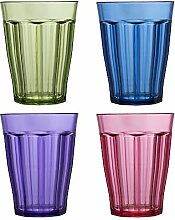 Rhapsody Premium Qualität Kunststoff 12oz Wasser Becher | Set von 8, plastik, mehrfarbig, 12 Ounces