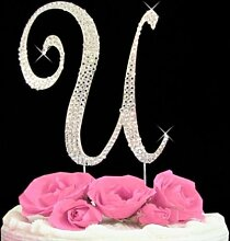 Rhinestone Cake Topper Letter U by other