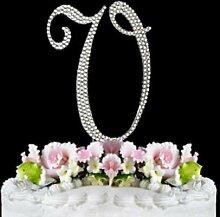 Rhinestone Cake Topper Letter V by other
