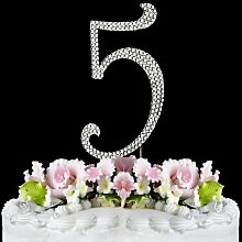 Rhinestone Cake Topper Number 5 by other