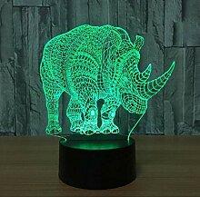 Rhino 3D Nachtlicht LED USB Tischlampe Neuheit 3D