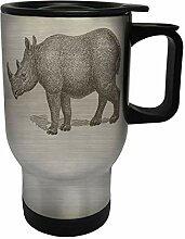 Rhino Hand Drawn Edelstahl Thermischer Reisebecher