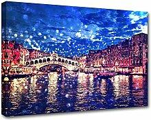 Rialto-Brücke, Venedig Abstraktes Bild Druck auf Leinwand, Möbel Kunst AS13