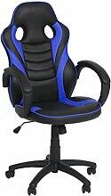 Ribelli® Bürostuhl im Racing Style - Gaming-Stuhl stufenlos höhenverstellbar ca. 60,5 x 107-117 x 56 cm in Lederoptik-mit Rollen - Farbe: schwarz/blau