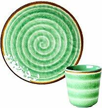 Rice Geschirr-Set aus Melamin, Teller und Becher,
