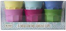 Rice Melamin Becher 6er Set klassische Farben 9 cm