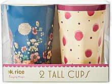 Rice Melamin Latte-Becher 2er Set, Blütenmotiv in