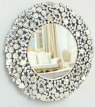 richtop Große Mosaik ausgehöhltes Arbeit Jewel Rahmen rund handgefertigt Silber Home dekorativer Wandspiegel Facettenschliff 13tm17170x 70,2cm (70x 70cm)