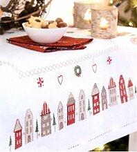 Rico-Design Stickpackung Tischdecke Weihnachtsstadt 31162, Kreuzstich vorgezeichne