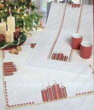 Rico-Design Stickpackung Weihnachtstischdecke Kerzen, Kreuzstich vorgezeichne