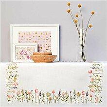 Rico Design Tischdecken Stick-Set Motiv Sommerwiese