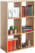 RICOO Bücherregal mit 6 Fächern, Raumteiler