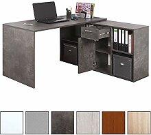 RICOO Schreibtisch WM081-BG Holz Dunkel Betongrau