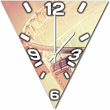 Riesenrad, Design Wanduhr aus Alu Dibond zum Aufhängen, 48 cm Durchmesser, schmale Zeiger, schöne und moderne Wand Dekoration, mit qualitativem Quartz Uhrwerk