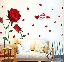 Riesige Rosen Blumen XXL Abnehmbare Transparente Wandkunst Aufkleber Aufkleber Mural Art Decals Vinyl Dekoration DIY Wohnzimmer Schlafzimmer Büro Dekor Tapete Kinderzimmer Geschenk