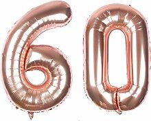 Riesiger Luftballon in Roségoldfolie, Zahl 60,