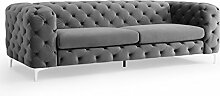 Riess Ambiente Design SAMT Sofa MODERN BAROCK grau