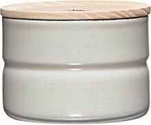 Riess - Vorratsdose KIMA, Frischhaltedose - Aufbewahrungsdose - mit Deckel - Emaille - Ø 8 cm - Höhe 6 cm - 230 ml - grau