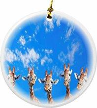 Rikki Knight Giraffen auf Blau Sky Design Rund