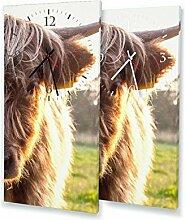 Rind - Lautlose Wanduhr mit Fotodruck auf Leinwand Keilrahmen | geräuschlos kein Ticken Fotouhr Bilderuhr Motivuhr Küchenuhr modern hochwertig Quarz | Variante:30 cm x 60 cm mit schwarzen Zeigern - GERÄUSCHLOS