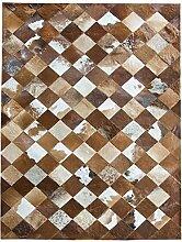 Rindsleder Teppich Luxuriöse Villa Wohnzimmer Rosshaar Europäische Stil Stitching Geometrische Platz Schlafzimmer Teppich