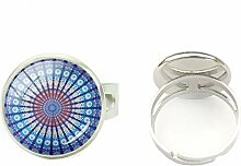 Ring aus Glas, Cabochon, rund, mit Mandala-Muster,