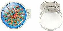 Ring aus Glas, rund, gewölbt, für Yoga, Mandala,