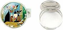 Ring aus Glas, rund, Kuppelform, mit abstrakten