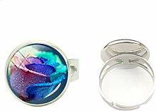 Ring mit Glaskuppel, Silberring, verstellbar,