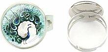 Ring mit Pfauenfedern, Silber, abstrakte Federn,