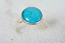 Ring Schmuck handmade Ring Damen Designer Accessoires Geschenk Ideen in Blau