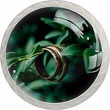 Ring-Schubladenknauf, rund, Glas, mit Schrauben,