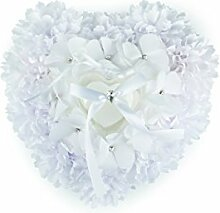 Ringkissen mit Dose und Stoffblumen Polyester , weiß ca. B:25cm/H:23cm/T:12cm