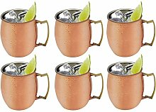 Rink Drink Moscow Mule Kupfer Russischer Cocktail-Becher, 590 ml x6