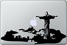 RIO Skyline Aufkleber Macbook Air Pro Sticker Decal Apple Brazil Brasilien (Schwarz)