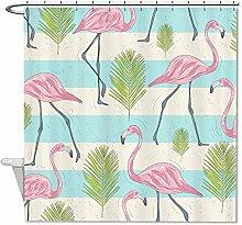 """rioengnakg Pink plamingos und tropische Pflanzen Polyester Duschvorhang Liner Mehltau wasserdicht bis, Polyester, #1, 66""""""""x72""""""""(165x180cm)"""