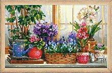 RIOLIS Fensterbank mit Blumen Kreuzstichpackung, Baumwolle, Mehrfarbig, 40 x 25 x 0,1 cm