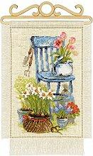 RIOLIS Ferienhaus Garten. Frühling Kreuzstichpackung, Baumwolle, Mehrfarbig, 20 x 30 x 0,1 cm