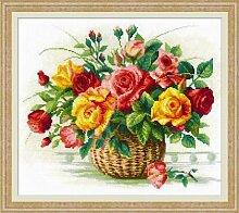 Riolis Korb mit Rosen Kreuzstich-Set, Baumwolle,
