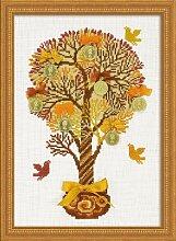 Riolis Kreuzstich-Set Geldbaum, Baumwolle,